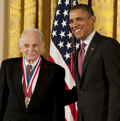 Chemistry professor Allen Bard with President Barack Obama