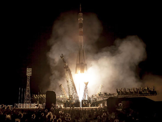 A Soyuz rocket with Expedition 36/37 Soyuz Commander Fyodor Yurchikhin of the Russian Federal Space Agency (Roscosmos), along with Flight Engineers Luca Parmitano of the European Space Agency and Karen Nyberg of NASA onboard, launches from the Baikonur Cosmodrome in Kazakhstan to the International Space Station on May 29, 2013, Kazakh time. Yurchikhin, Nyberg and Parmitano, will remain aboard the station until mid-November. Photo credit: NASA/Bill Ingalls