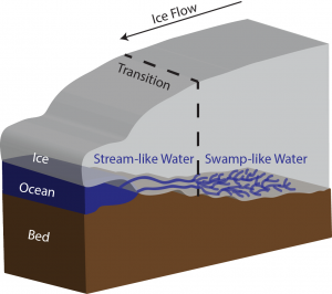 Transition from swamps to streams under Thwaites Glacier