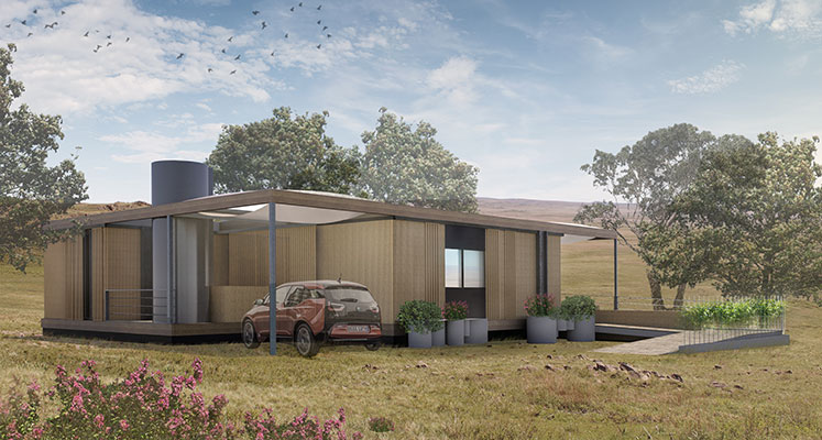 Rendering of home designed by UT 2015 Solar Decathlon team