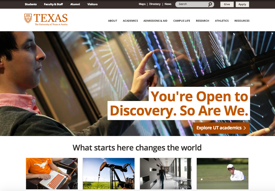 University of Texas website