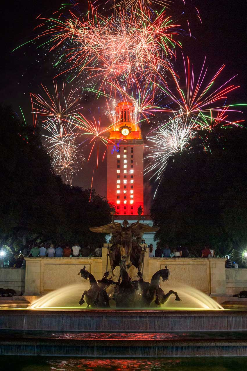 Fireworks at the University of Texas Tower for the 2015 Commencement