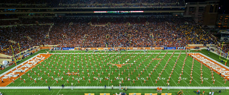 The iconic Wall-to-Wall Band formation. In 2004, 381 students were members of Longhorn Band, and 95 percent of the band