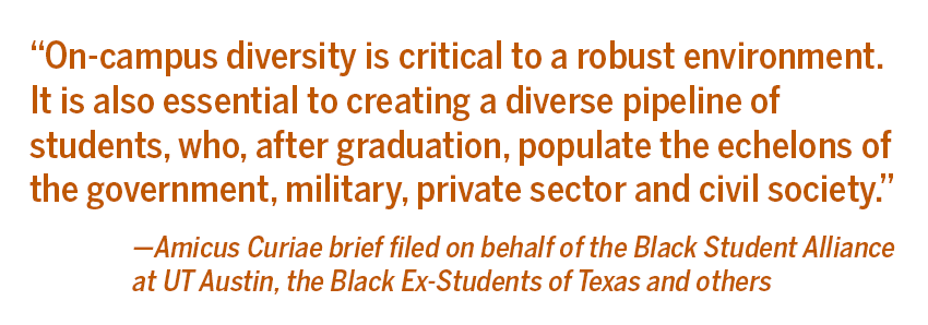 Amicus Curiae brief filed on behalf of the Black Student Alliance at UT Austin, the Black Ex-Students of Texas and others